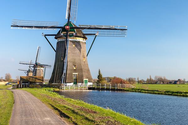 Three windmills near Leidschendam, South Holland, Netherlands
