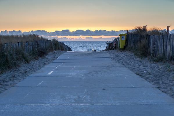 Sunset on beach at Noordwijk aan Zee,  Netherlands