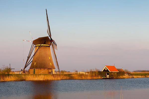 Windmill near Kinderdijk, South Holland, Netherlands