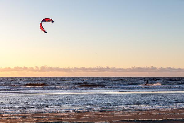 Kitesurfing on North Sea, Noordwijk aan Zee, Netherlands