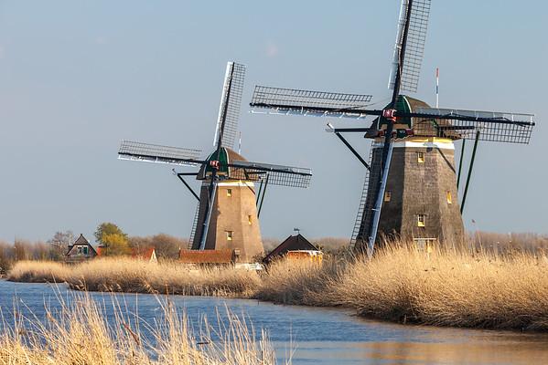 Windmills near Leidschendam, South Holland, Netherlands