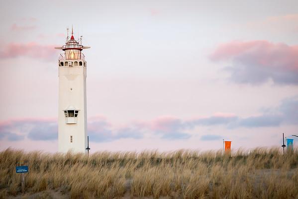 Lighthouse on beach at Noordwijk aan Zee,  Netherlands