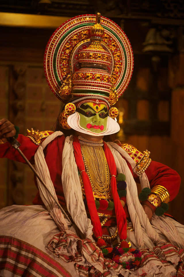 The kathakali stories are enacted through intricate dance, hand movements, and facial expressions.  Training can often last 8-10 years.