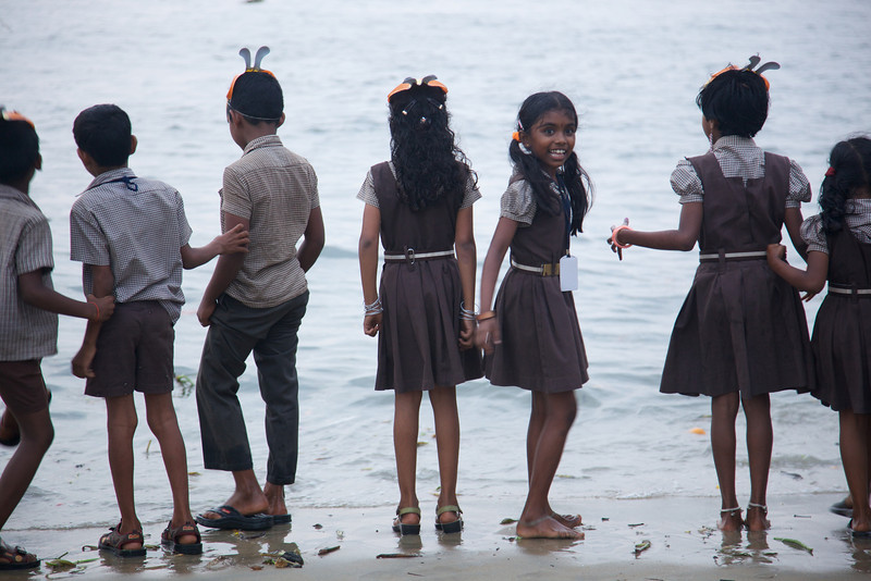 School kids visiting the beach.  Interesting factoid about Kerala, it has a literacy rate of 91%.  Highest in any developing nation in the world.