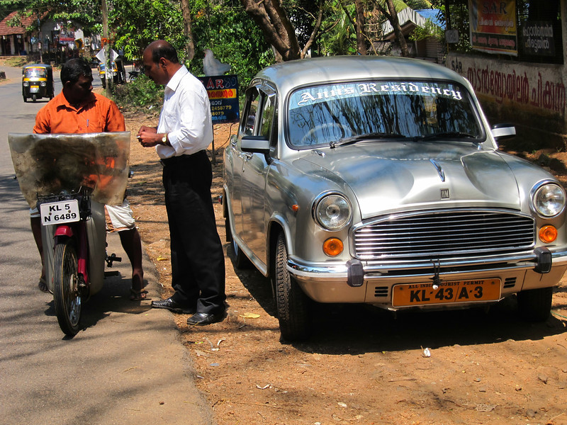 We cruised around Kerala in an Ambassador (car)