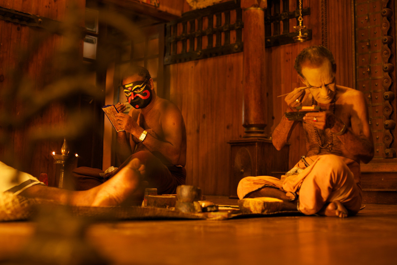 Kathakali artists preparing for the nights performance.