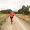 Lesley heading down the rail trail to Clyde