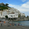 The beach, Amalfi town