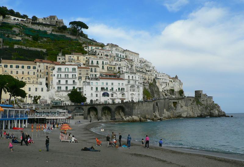 The beach, Amalfi town