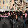 Rome - a view of Campo di Fiori and some of the many restaurants in the late afternoon
