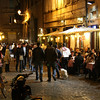 Rome (Trastevere) - some of the restaurants in one of the sidestreets near the Hotel.