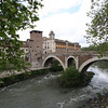 Rome - this is a view of the river and the bridge Cesto Fabricio, which leads to Isola Tiberina.