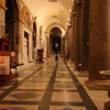 Rome ( Trastevere ) - a view of one of the long hallways in the interior of the Church.