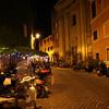 Rome (Trastevere) - restaurant (on the left) and small plaza near Casa san Giuseppe Hotel