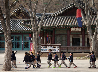 School children on a field trip to the Korean Folk Village.