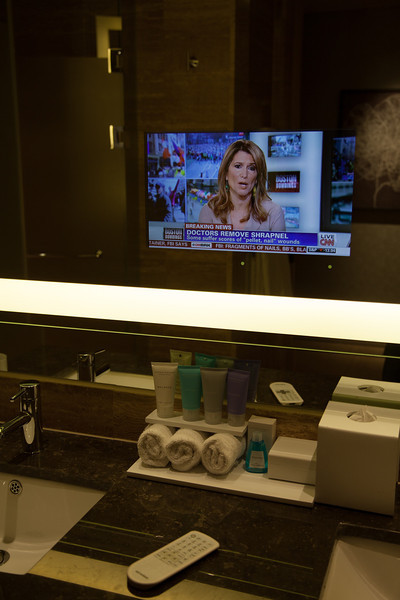 TV in the bathroom mirror at the Conrad Hilton, Seoul.