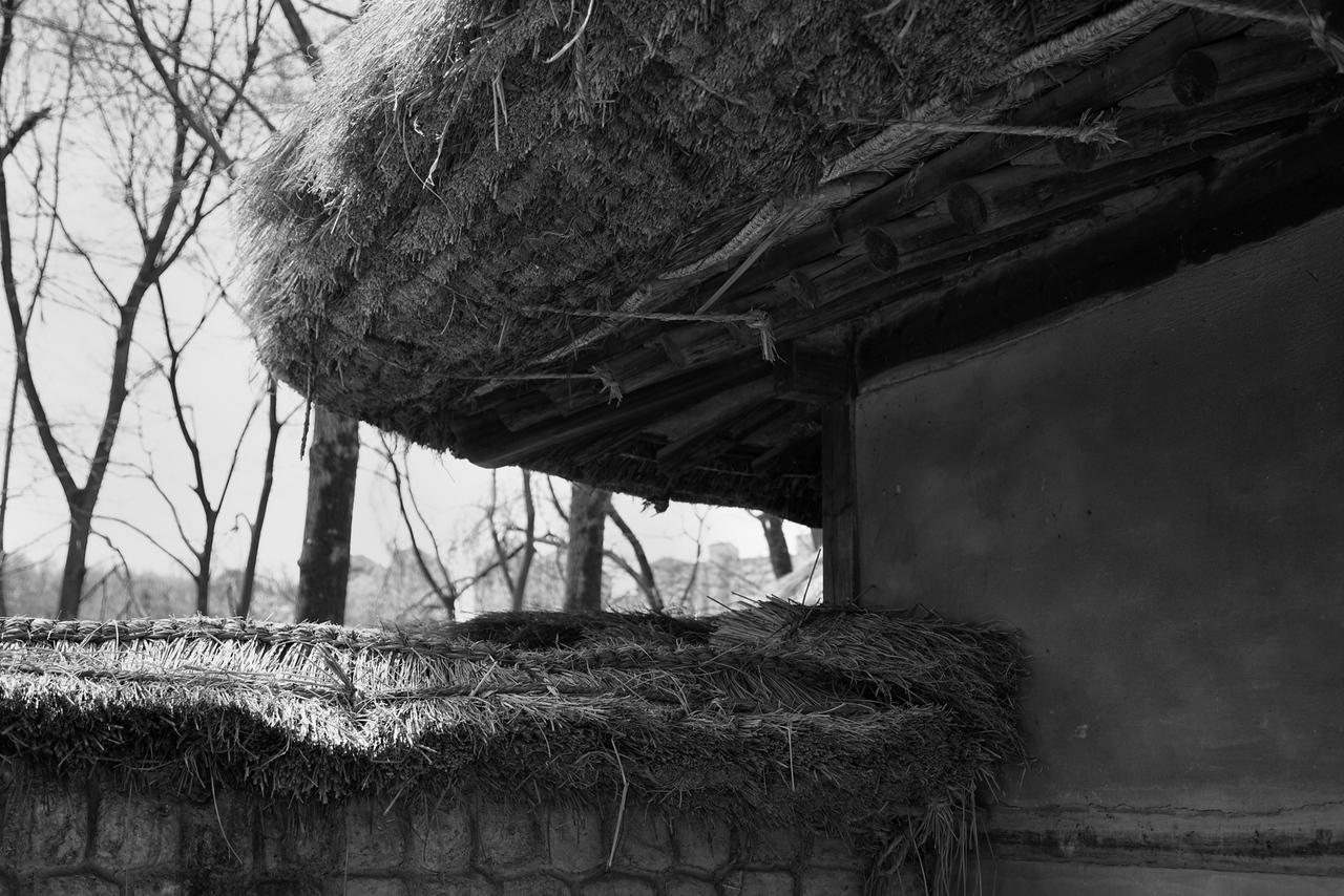 Traditional thatched roof at the Korean Folk Village in Yongin, South Korea.