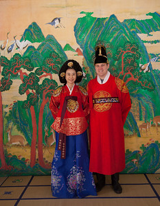 Traditional wedding attire (Hanbok) at the Korean Folk Village in Yongin, South Korea.