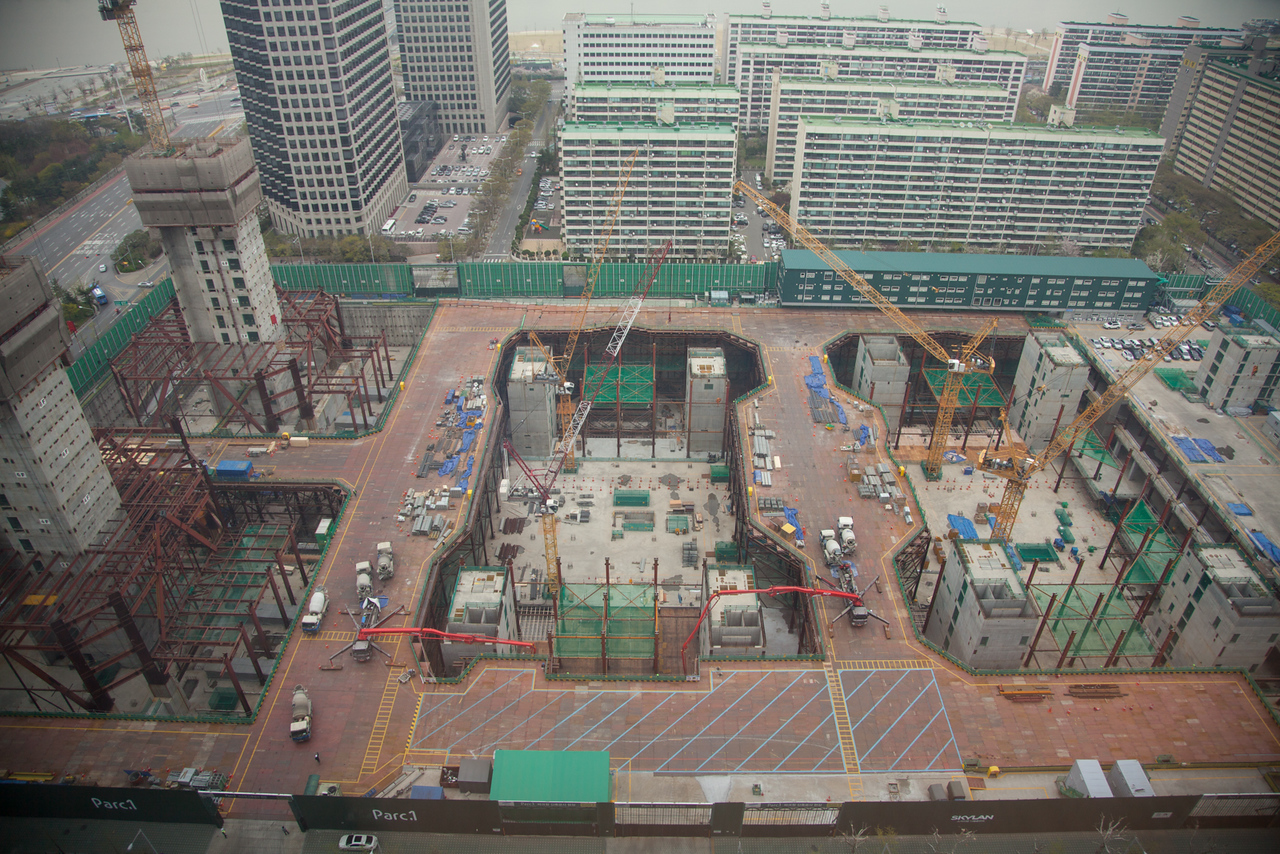 Construction site of Parc1 (an eventual 72 floor skyscraper) as seen from the Conrad Hilton.