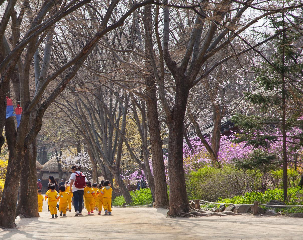 School children on a field trip to the Korean Folk Village.
