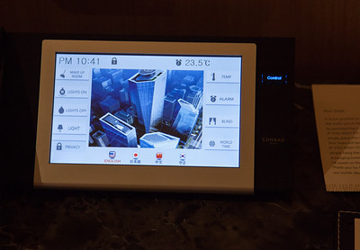 Touch screen control panel for the room at the Conrad Hilton, Seoul.