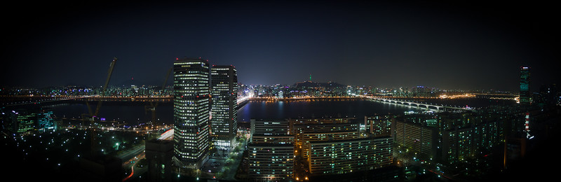 A panoramic view looking north over the Han River as seen from the Conrad Hilton in the Yeouido Business District in Seoul.