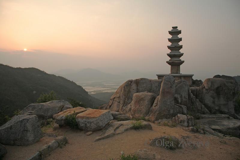 <p>Five-storied Stone Pagoda at Sunset. Mt.Namsan area, Gyengju, South Korea</p>
