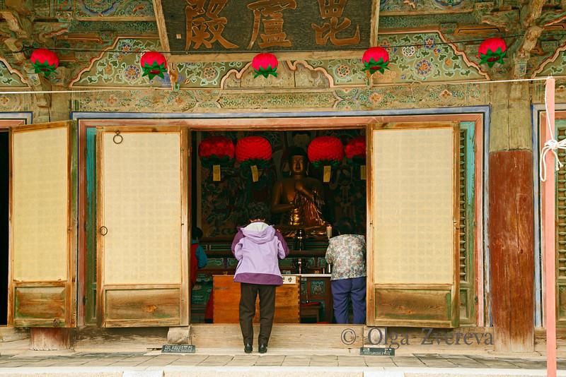 <p>Entrance to Daewoonjeon Main Hall, Bulguksa Temple, Gyeongju, South Korea</p>  <p>A Buddha statue is enshrined in Daewoonjon hall.</p>