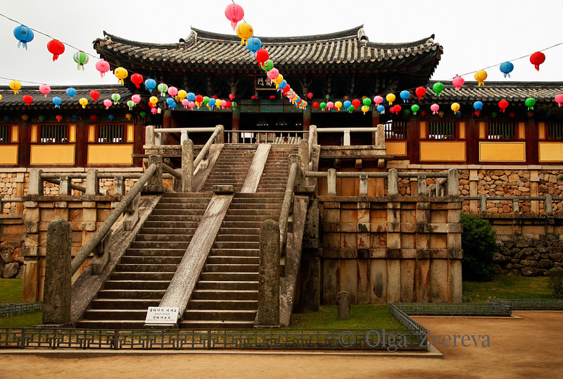 <p>Bulguksa Temple, Gyeongju, South Korea</p>  <p>Gate to Daewoonjeon Main Hall can be reched by two stone bridges. The bridge has 33 stairs which represent the 33 steps or courses people should take to reach Buddha's land.</p> <p>Bulguksa Temple symbolizes Buddha's Land on earth. It was build in 751 and was restored to its present form in1973. It was designated as a World Cultural Heritage on 1995, by UNESCO.</p>