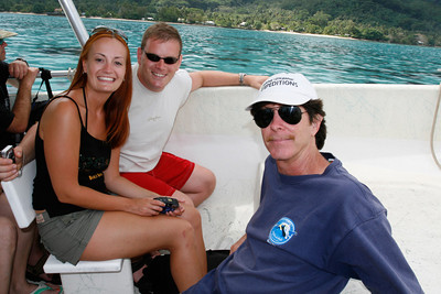 Fellow cruisers Craig and Melanie with world renowned, marine biologist Michael Poole.  He counted 45 dolphins, including a youngster, during our excursion.  http://www.drmichaelpoole.com/bio.htm