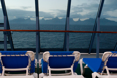 First view of Moorea in the early morning.