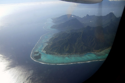 On the return from Maupiti, the plane went right over Moorea.  Whether on the water or in a plane above, the colors seem just unreal.