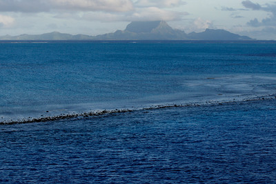 Taken as the ship passes through the Teavapiti Pass with Bora Bora in the background,