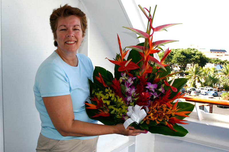 By US standards, flowers are one of the few good buys in French Polynesia.  These lasted the 10 days and cost US$20.