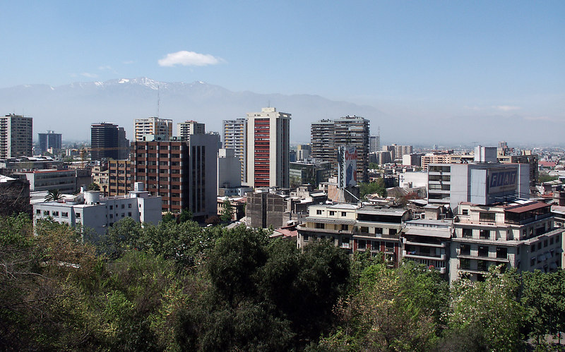 Santiago (5.9 million people), capital of Chile is nested at the base of the Andes.