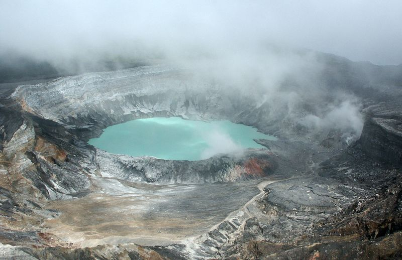 Poás sulfuric pool emitting gases and reaching a temperature of 96°centigrade.