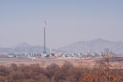 The infamous flagpole in Kijŏng-dong, North Korea's propaganda village