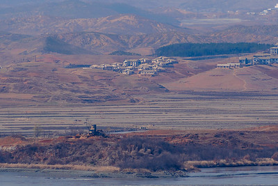 The view of North Korea from Odusan Unification Observatory