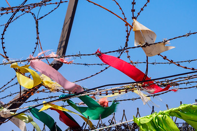 At Imjingak Park, visitors tie colorful ribbons to the barbed wire in the hopes of a unified Korea