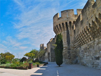 Walled City of Avignon, France.
