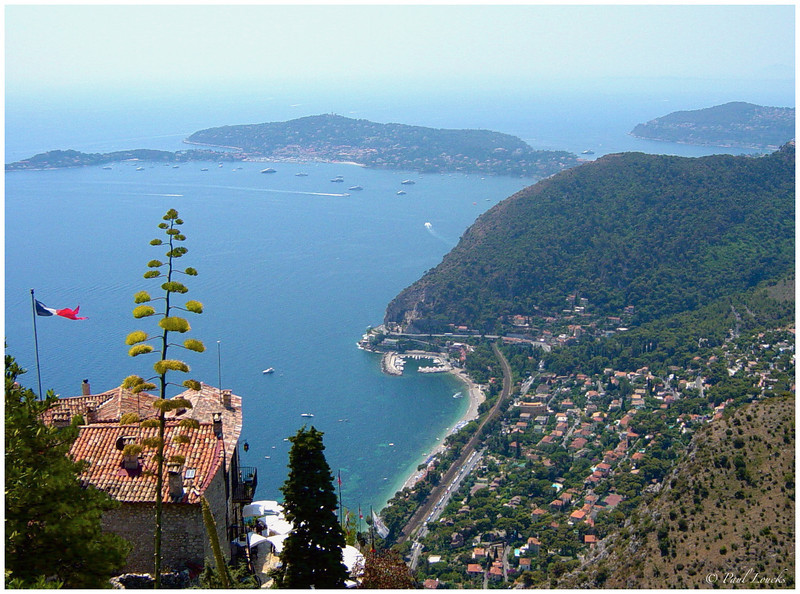 This view overlooks Saint-Jean-Cap-Ferrat and Beaulieu-Sur-Mer from the perched village of Eze.