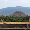 The moon and sun pyramids at Teotihuacan viewed from near the Visitor Center. April, 2009.