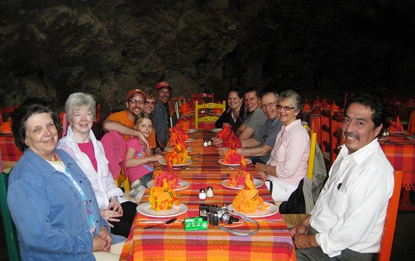 We went from the pyramids to inside a cave for lunch. L to R: Claudia, Donna, Jadyn, Kolby, Jody, Walter, Tricia, Kirsten, Vern, Shirley, and the van driver. April, 2009.