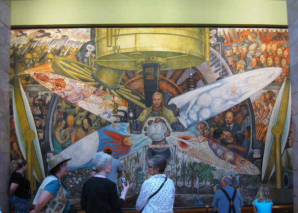 Are Claudia, Donna and Shirley discussing the artwork. . . or when to have lunch? This mural is one of many at the Palacio de Bellas Artes. April, 2009. Shared by Walt.
