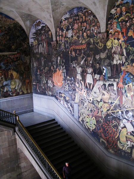 This epic mural, painted by Diego Rivera in the Palacio Nacional, depicts the history and life of the Mexican people. April, 2009.
