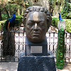 Large portrait sculpture of Diego Rivera, flanked by two of the many peacocks at the Olmedo museum. April, 2009.