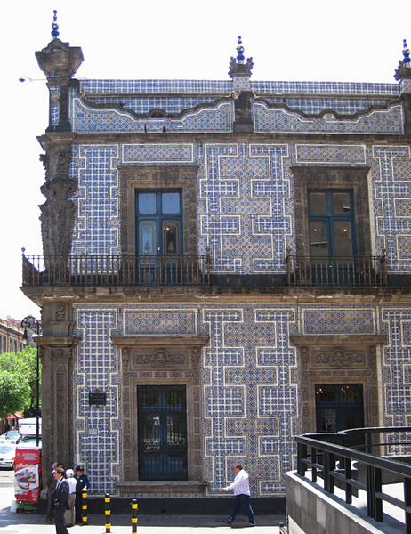 This street architecture with Moorish influence is covered in small ceramic tiles. April, 2009.