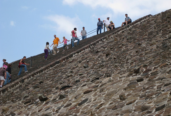 Kolby, Jadyn,(orange and pink shirts) are followed down the Sun Pyramid's 248 steps by Kirsten and Walt. April, 2009.