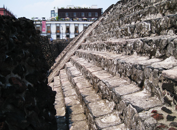 Wall and pyramid side of the Templo Mayor discovered in the Historic City Center in 1978. April, 2009.