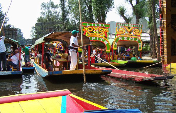 "Xochimilco Floating Gardens. It gets a little crowded on the ""party"" part of the canals! April, 2009. Shared by Vern."